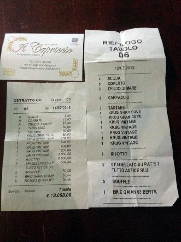 Conto da 13mila euro al Ristorante Capriccio sul Gargano, alla faccia della crisi.
