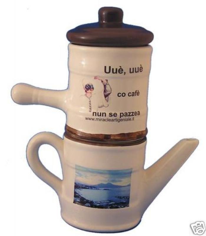Caffettiera napoletana ceramica caffè pulcinella